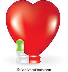 corazón, dos, píldoras