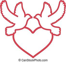 corazón, dos, palomas, contorno