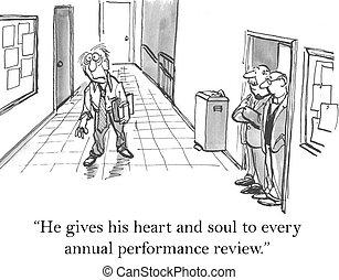 corazón, el suyo, revisión, alma, él, da