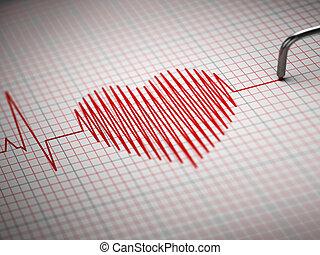 corazón, electrocardiograma, golpe, ecg., forma.