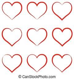 corazón, empate, concepto, amor, contorno, corazón, conjunto...
