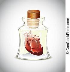 corazón, en, botella
