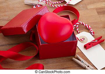 corazón, en caja, para, día de valentines