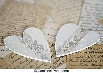 corazón, en, carta