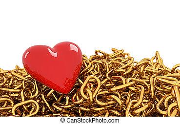 corazón, en, dorado, cadena