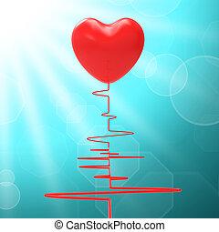 corazón, en, electro, significado, sano, relación, o, apasionado, matrimonio