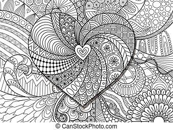 corazón, en, flores