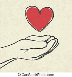 corazón, en, hands.