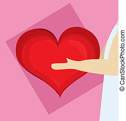 corazón, en, mano