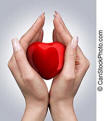 corazón, en, manos