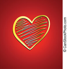corazón, en, rojo, fondo., valentine, o, boda, tarjeta, diseño