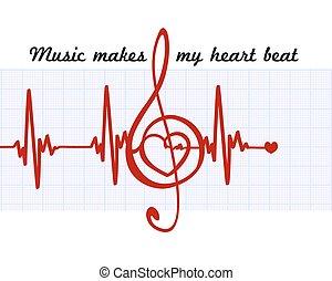 corazón, en, un, musical, clave, con, cardiogram.music, marcas, mi, latido de corazón, quote., vector, arte abstracto, señal