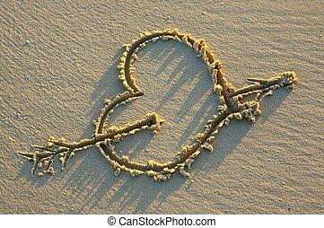 corazón, en, un, playa arenosa