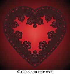 corazón, encaje