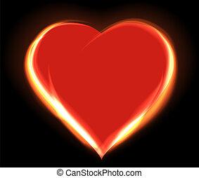 corazón, encendido