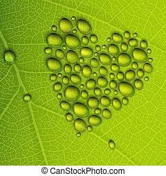 corazón, eps10, ilustración, leaf., rocío, forma, vector,...