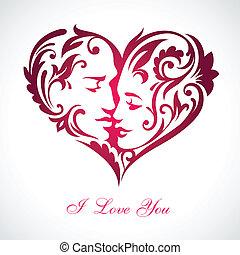 corazón, escondido, caras, besar