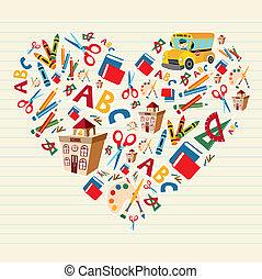 corazón, escuela, amor, espalda