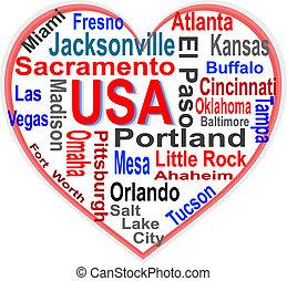 corazón, estados unidos de américa, más grande, norteamericano, palabras, ciudades, nube