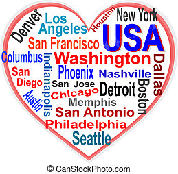 corazón, estados unidos de américa, más grande, palabras, ciudades, nube