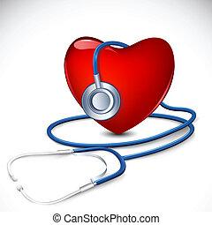 corazón, estetoscopio, alrededor