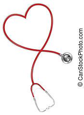 corazón, estetoscopio, formado