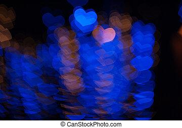 corazón, estilo, amor, valentines, forma, luces, bokeh, diseño, día, feliz