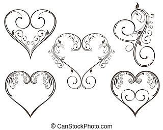 corazón, estilo, color, vendimia, gris, ilustración, ...