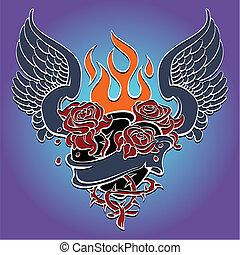 corazón, estilo, diseño, sagrado, tatuaje
