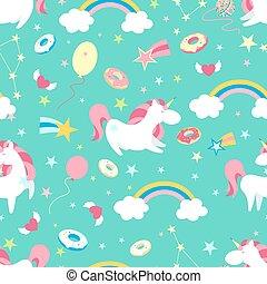 corazón, estilo, magia, lindo, set., unicornio, carácter, ...