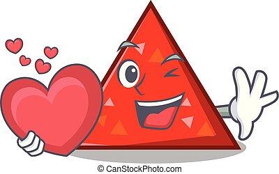corazón, estilo, mascota, triangel, caricatura