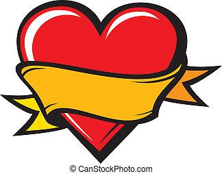 corazón, estilo, -, tatuaje