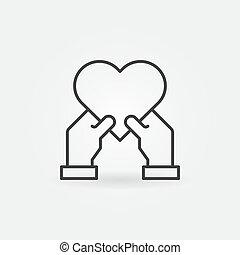 corazón, estilo, vector, delgado, manos humanas, línea,...