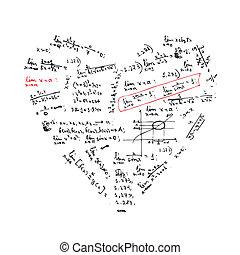 corazón, fórmulas, forma, diseño, su, matemáticas