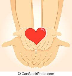 corazón, familia , manos