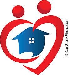 corazón, figuras, con, icono de la casa, vector, diseño, logotipo