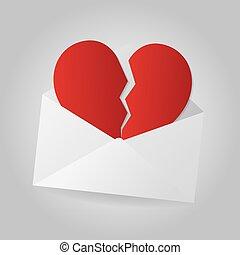 corazón, fin, gris, sobre, fondo., ralationship., roto,...