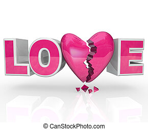 corazón, fines, amor, relación, desintegración, roto,...