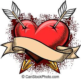 corazón, flechas, perforado