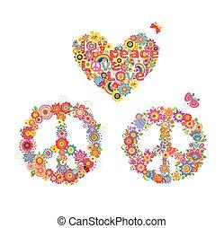 corazón, flor, hippie, símbolo del arco iris, paz, forma, applique
