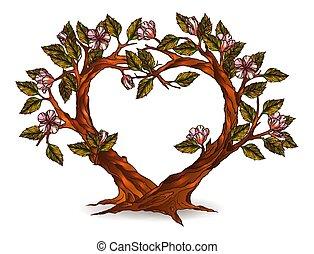 corazón, flores, árboles, ilustración, formado