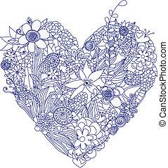 corazón, flores