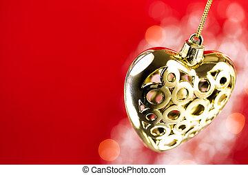 corazón, florido, dorado