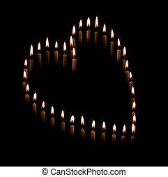 corazón formó, ahusarse, velas