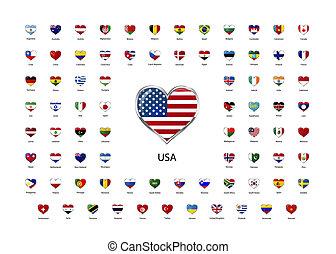 corazón formó, brillante, iconos, banderas, de, mundo, soberano, estados