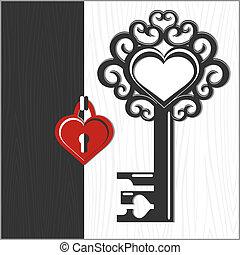 corazón formó, cerradura clave