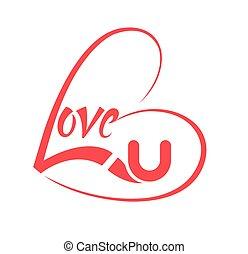 corazón formó, con, amor, lettering.