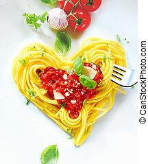 corazón formó, espaguetis