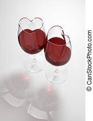 corazón formó, gafas vino, llenado, con, amor, veneno