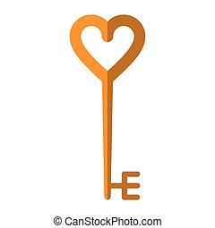 corazón formó, llave, dorado
